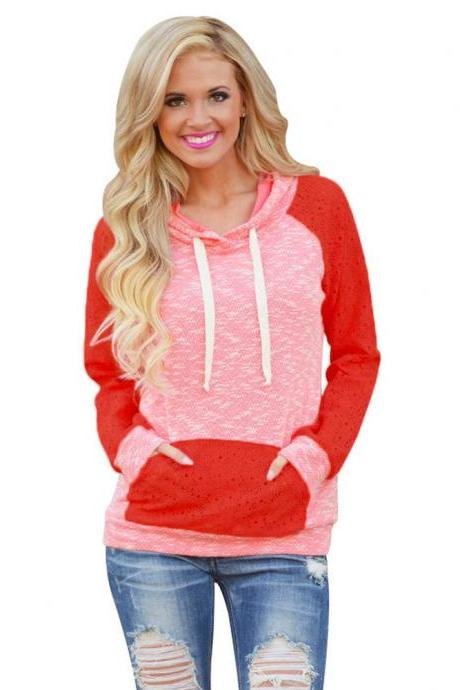 Womens Hollow Patchwork Hooded Sweatshirt Pullover Hoodie Coat Outerwear Tops - Rose