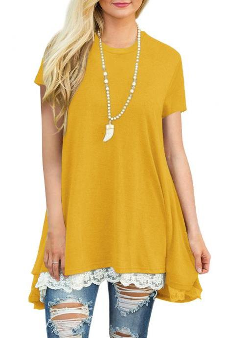 Free Shipping Casual Irregular Round Neck Shirt For Lady - Yellow