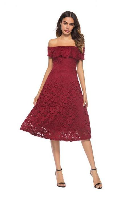 Fashion New Off the Shoulder Lace A Line Dress - Wine Red