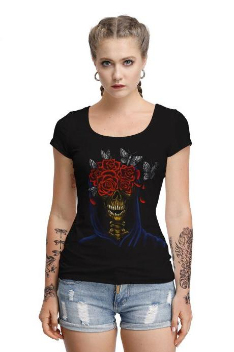 Halloween Rose Butterfly Skull Print Round Neck T Shirt