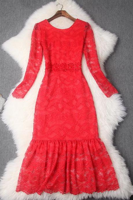 Luxury Designer Beading Red Lace Long Dress