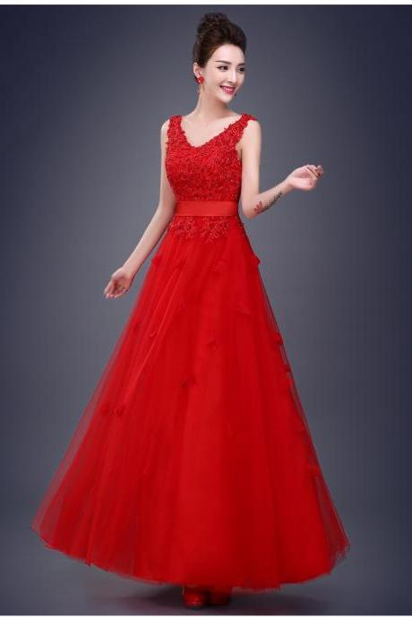 Designer Gorgeous Embroidered Red Evening Party Dress