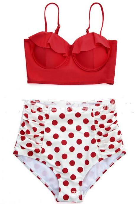 Women Red Dot Bikini High Waist Swimsuit