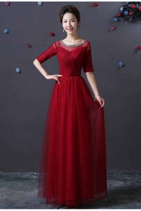 Designer Evening Party Long Dress - Wine Red