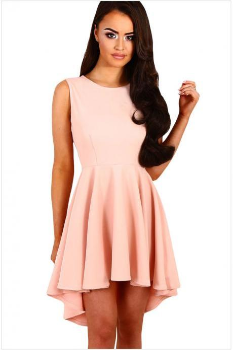 Fashion Round Neck Sleeveless Skater Dress - Pink