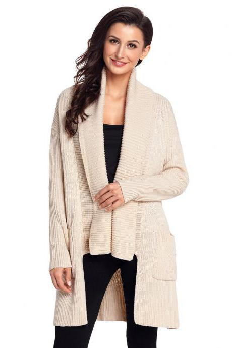 Long Sleeve Pocket Knitting Pattern Cardigan - Beige
