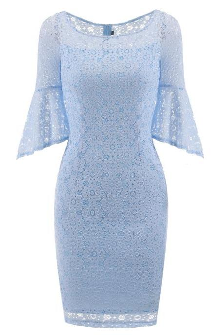 New Style Round Neck Lace Dress - Light Blue