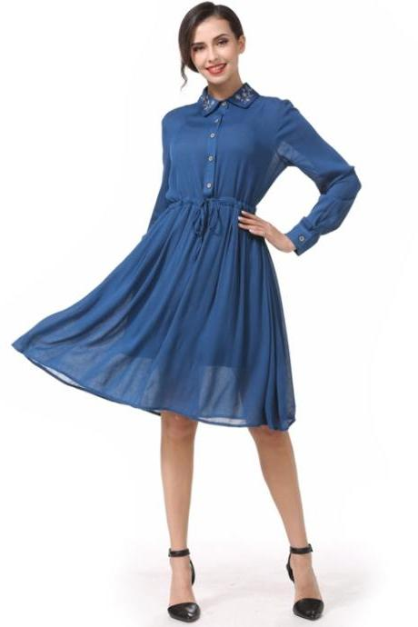 Vogue Middle Calf Length Long Sleeve Chiffon Dress