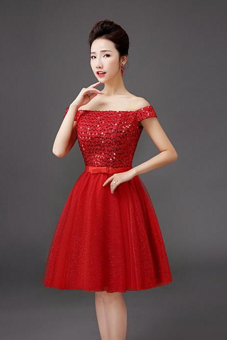 Fashion Designer Red Sequin Evening Party Dress For Women