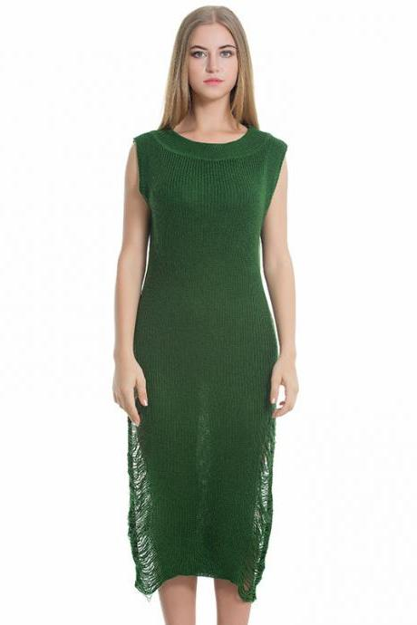 Green Loose Sleeveless Women Hollow Knit Sweater Dress