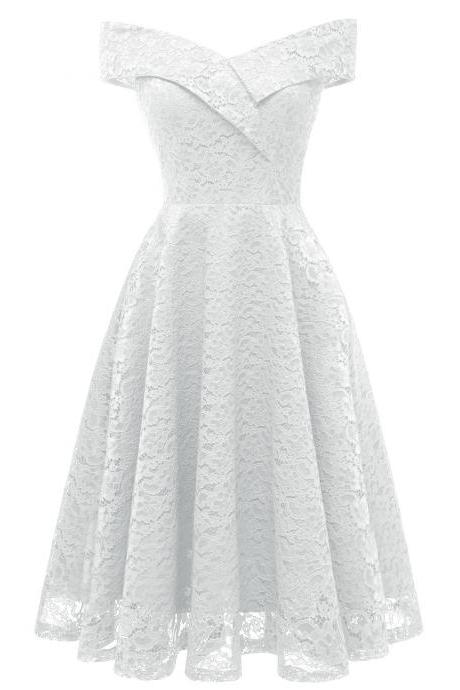 Elegant Sleeveless Women Off Shoulder Lace Dress - White