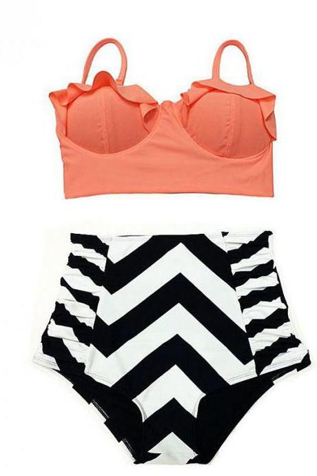 Sexy Strip High Waist Swimsuit Push Up Bikini Set