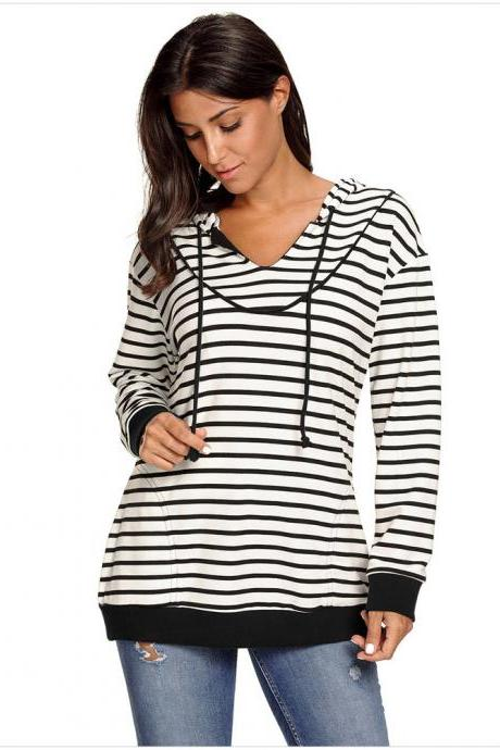 New Stripe Women Long sleeved Hooded Head Shirt