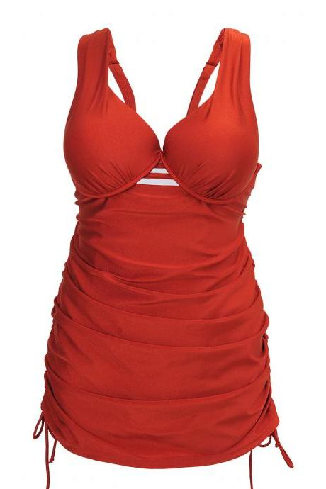 Women Top Plus Size Swimwear 2XL 3XL 4XL Push Up Bathing Suit Ladies Swimming Suit - Red