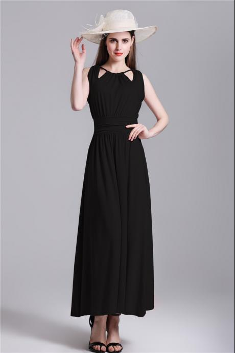 New Halter Neck High Waist Dress - Black