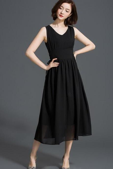 New V Neck Sleeveless Solid Long Dress - Black