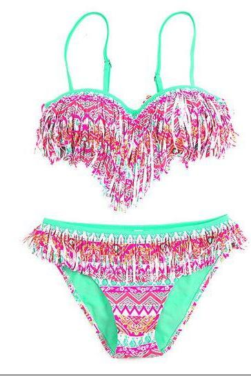 Tassel Swimwear Bikini Set Women Swimsuit - Pink