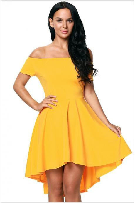 Women Off-Shoulder High Low Dress - Yellow