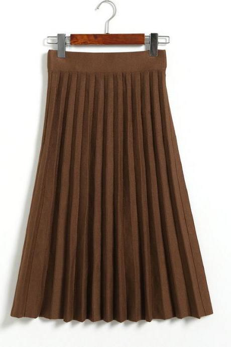Spring Autumn Summer Style Women's High Waist Pleated Skirt - Khaki