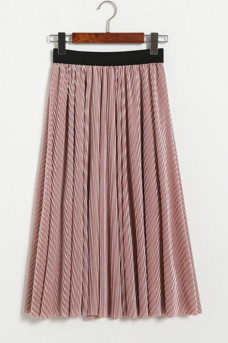 Women Stripe High Waist Pleated Skirt