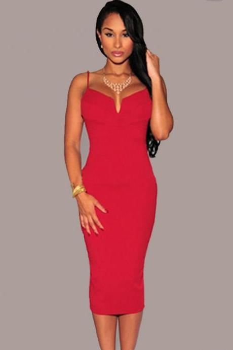 Hot Sale Solid Sexy Straps Dress for Woman - Red
