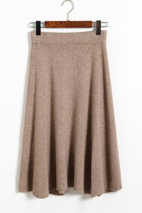 Autumn Winter Knitting skirts High Waist Slim Sexy Women Skirt - Khaki