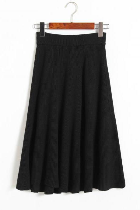 Autumn Winter Knitting skirts High Waist Slim Sexy Women Skirt - Black