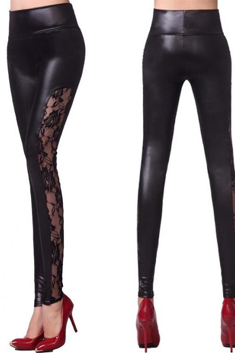 New Leather pants female fashion side lace patchwork leggings