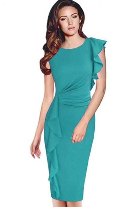 Elegant Solid Long Sleeveless Dress - Green