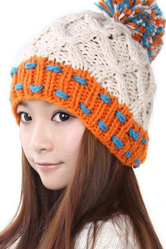 Free Shipping Women Hat For Winter Knitted Wool Fashion Casual Cap - Beige