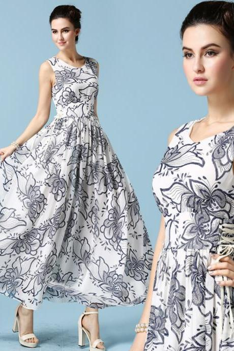 High Quality Round Neck Sleeveless Floral Chiffon Dress 7025