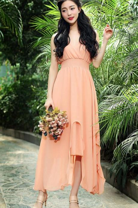 Fashion Strapless V Neck Maxi Long Dress - Pink