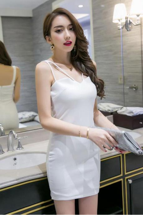 Party Essential Spaghetti Strap Dress for Woman - White