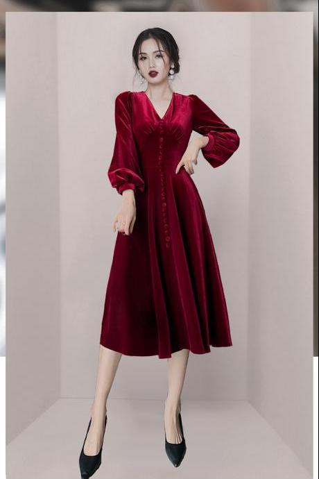 New Casual V Collar Long Sleeve Dress - Wine Red