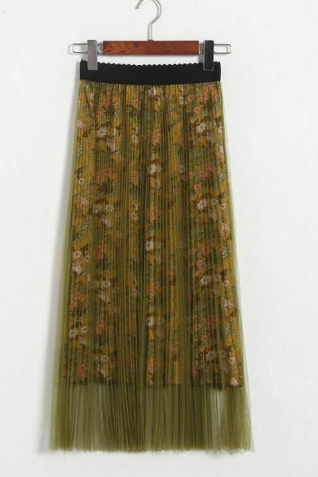 New High Waisted Pleated Printed Long Skirt - Yellow