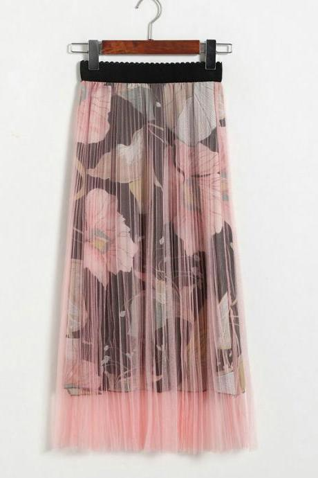 New High Waisted Pleated Printed Long Skirt - Pink