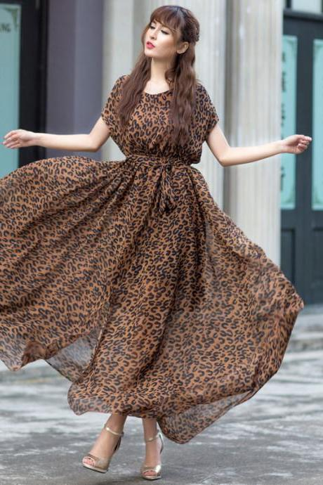 High Quality Round Neck Leopard Long Dress