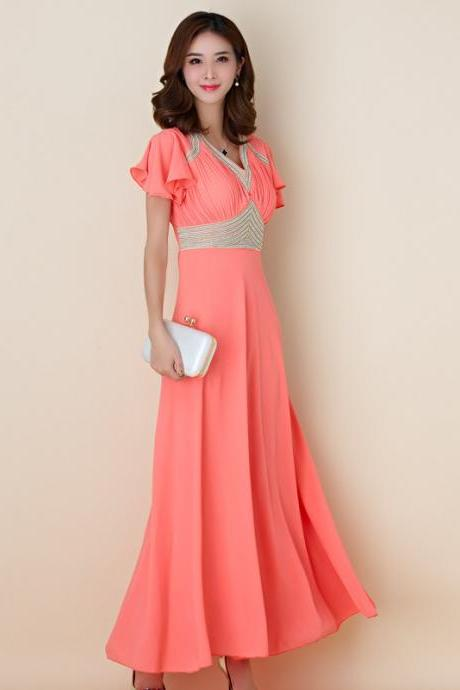 Luxury Designer Evening Party Dress - Orange