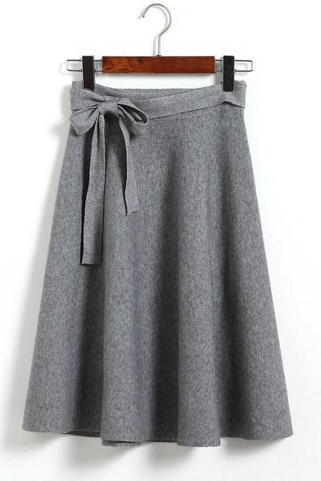 New Bow High Waist A Line Slim Skirt