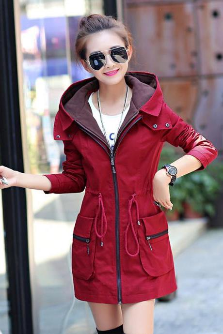 New Fashion Elastic Waist Hooded Trench Coat - Wine Red