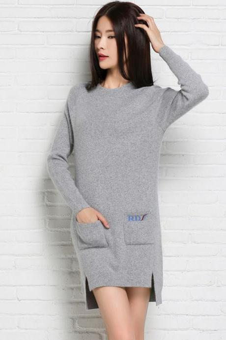 Fashion And Elegant Round Neck Woman Dress With Pockets - Light Grey
