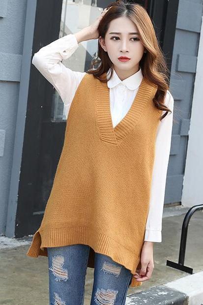 New Loose Sleeveless Pullover V-Neck Knitting Vest Sweater - Yellow