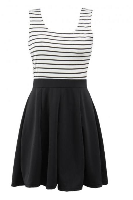 Fashion Sleeveless Stripe Print Dress - White&Black