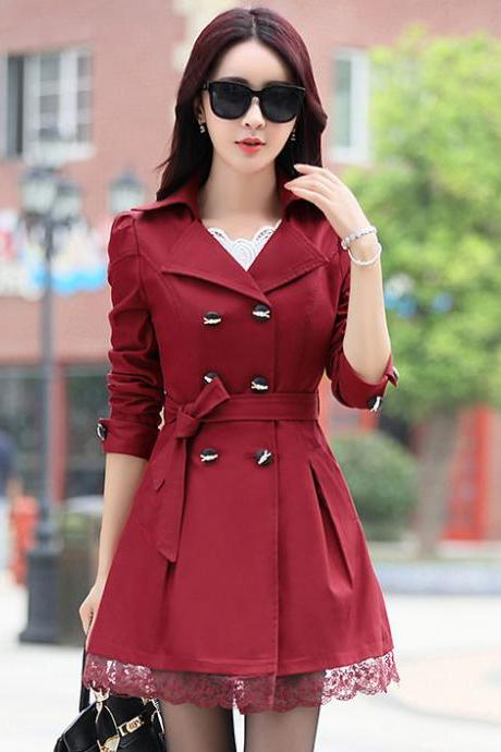 New Lace Decoration Double Breasted Trench Coat - Wine Red