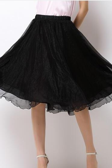 High Waist Chiffon Midi Skirt Summer Ladies Casual Slim Beach Skirts - Black
