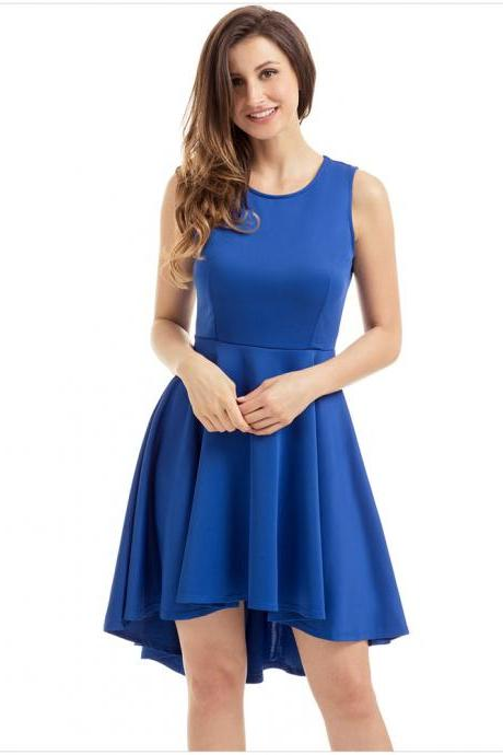 Fashion Round Neck Sleeveless Skater Dress - Blue