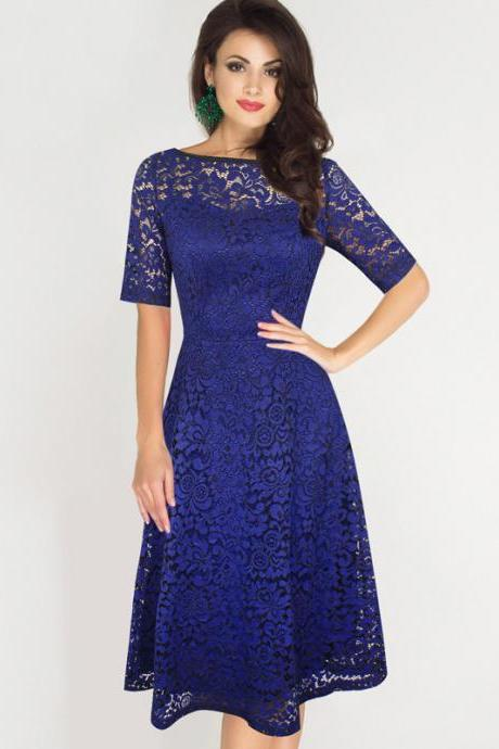 Fashion Round Neck Half Sleeve Lace Dress - Blue