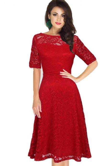 Fashion Round Neck Half Sleeve Lace Dress - Red