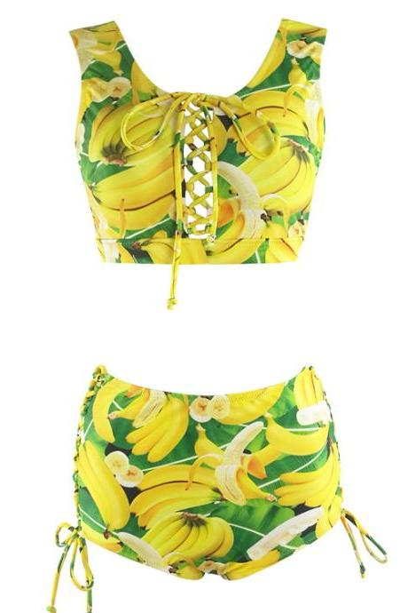 New Arrival Banana Pattern Swimwear Women Bikini Set