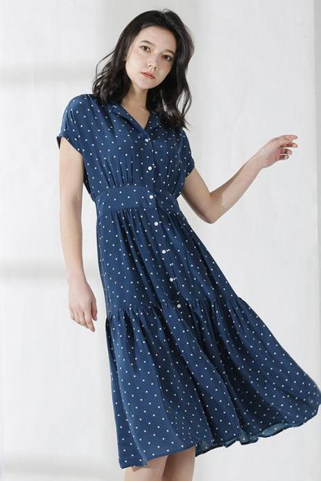 Luxury Short Sleeve Navy Blue Dot Long Dress